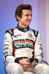 Rising star and 2017 McLaren Autosport BRDC Award Winner Lando Norris is interviewed on stage at Autosport International, the season opening motorport show - Rogan Thomson/JMP - 12/01/2017 - MOTORSPORT - The NEC - Birmingham, England - Autosport International Day 1.