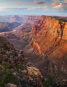 Looking along the Palisades of the Desert and down to the Colorado River. Grand Canyon National Park in Arizona.