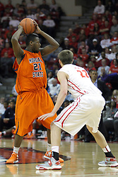 16 December 2012:  Tauron Bailey picks up his dribble when confronted by Jon Ekey during an NCAA men's basketball game between the Morgan State Bears and the Illinois State Redbirds (Missouri Valley Conference) in Redbird Arena, Normal IL
