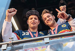 15.04.2016, Kapitelplatz, Salzburg, AUT, EBEL, Meisterfeier EC Red Bull Salzburg, im Bild Luka Gracnar (EC Red Bull Salzburg), John Hughes (EC Red Bull Salzburg) // Luka Gracnar (EC Red Bull Salzburg), John Hughes (EC Red Bull Salzburg) during the Erste Bank Icehockey Liga Championships Party of EC Red Bull Salzburg at the Kapitelplatz in Salzburg, Austria on 2016/04/15. EXPA Pictures © 2016, PhotoCredit: EXPA/ JFK