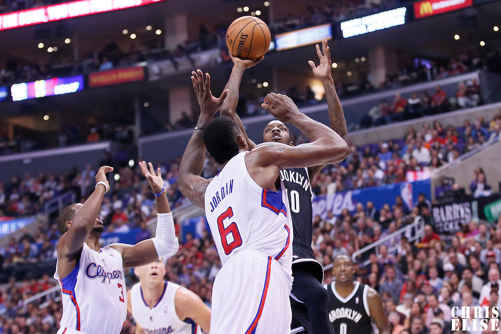 16 November 2013: Brooklyn Nets Tyshawn Taylor takes a jumpshot during the Los Angeles Clippers 110-103 victory over the Brooklyn Nets at the Staples Center, Los Angeles, California, USA.