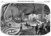 Tapping furnaces and casting the bell for the Westminster Clock Tower, Warner & Sons' Barrett Furnaces, Stockton-on-Tees, England. Wood engraving 1856