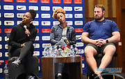 Tianna Bartoletta (USA), left, Brianna Rollins aka Brianna McNeal (USA), center, and Tom Walsh aka Tomas Walsh (NZL) during a news conference at the Intercontinental Doha Hotel-The City, Thursday, May 2, 2019, in Doha, Qatar prior to the 2019 IAAF Diamond League Doha meeting. (Jiro Mochizuki/Image of Sport)