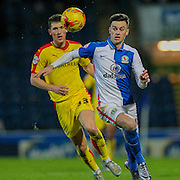 Tom Lawrence (Blackburn Wanderers) runs through into the box during the Sky Bet Championship match between Blackburn Rovers and Rotherham United at Ewood Park, Blackburn, England on 11 December 2015. Photo by Mark P Doherty.