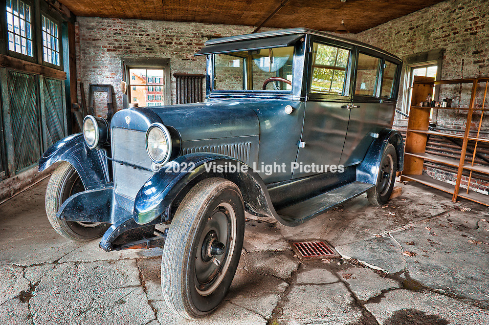 Vintage 1923 REO T-6 sedan in the Brick Garage at Hancock Shaker Village.  Photographed using an HDR technique.