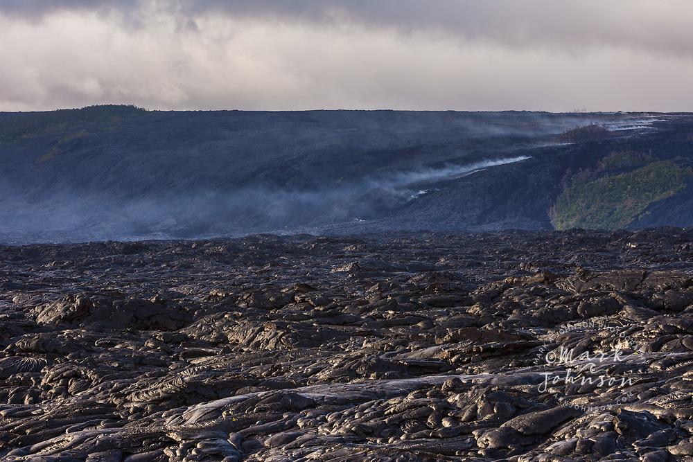 Lava flow down the pali near the Kamokuna ocean entry, Kalapana, Big Island, Hawaii