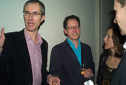 GEOFF DYER ( LEFT) , party to celebrate the 100th issue of Granta magazine ( guest edited by William Boyd.) hosted by Sigrid Rausing and Eric Abraham. Twentieth Century Theatre. Westbourne Gro. London.W11  15 January 2008. -DO NOT ARCHIVE-© Copyright Photograph by Dafydd Jones. 248 Clapham Rd. London SW9 0PZ. Tel 0207 820 0771. www.dafjones.com.