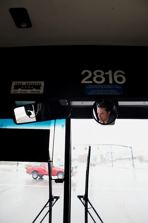 Sam Hass drives a COTA bus in Columbus, Ohio on Friday, February 25, 2011. Senate Bill 5 would eliminate collective bargaining rights for state workers, which Governor John Kasich claims is a necessary reaction to the budget crisis.