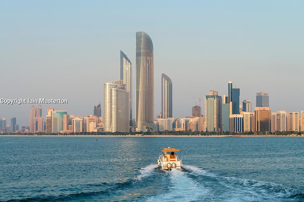 Skyline along Corniche in Abu Dhabi in United Arab Emirates UAE