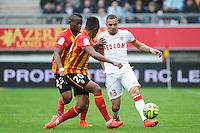 Wylan CYPRIEN / Layvin KURZAWA - 26.04.2015 - Lens / Monaco - 34eme journee de Ligue 1<br /> Photo : Nolwenn Le Gouic / Icon Sport