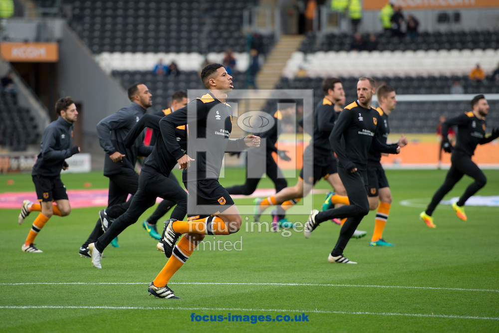 Hull City players warm up before the Premier League match at the KCOM Stadium, Hull<br /> Picture by Russell Hart/Focus Images Ltd 07791 688 420<br /> 06/11/2016