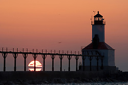Lighthouse at Washington Park in Michigan City, Indiana at sunset
