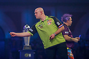 Michael Van Gerwen (Netherlands) during his match with Peter Wright (Scotland) ) in the final of the PDC William Hill World Darts Championship at Alexandra Palace, London, United Kingdom on 1 January 2020.