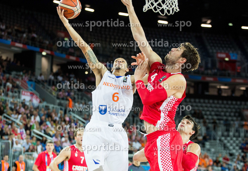 Worthy de Jong of Netherlands vs Ante Tomic of Croatia  during basketball match between Netherlands and Croatia at Day 5 in Group C of FIBA Europe Eurobasket 2015, on September 9, 2015, in Arena Zagreb, Croatia. Photo by Vid Ponikvar / Sportida