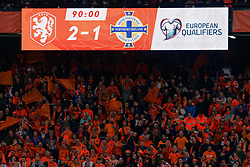 10-10-2019 NED: Netherlands - Northern Ireland, Rotterdam<br /> UEFA Qualifying round ­Group C match between Netherlands and Northern Ireland at De Kuip in Rotterdam / Scoreboard, 2-1