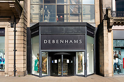 Edinburgh, Scotland, UK. 8 April 2020. Images from Edinburgh during the continuing Coronavirus lockdown. Pictured; Closed branch of Debenhams department store on Princes Street. Iain Masterton/Alamy Live News.
