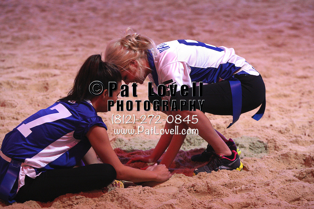February 04 2012:  Chrissy Tiegan and Kate Upton make a sand castle before the game during The 6th Annual Celebrity Beach Bowl at Victory Field in Indianapolis, Indiana during Super Bowl week.