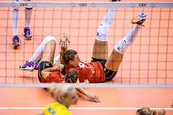 24-08-2017 NED: World Qualifications Belgium - Slovenia, Rotterdam<br /> Freya Aelbrecht #9 of Belgium, Frauke Dirickx #3 of Belgium<br /> Photo by Ronald Hoogendoorn / Sportida