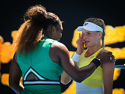 January 19, 2019 - Melbourne, Australia - SERENA WILLIAMS of the United States consoles DAYANA YASTREMSKA of the Ukraine after their third-round match during the 2019 Australian Open Grand Slam tennis tournament. Williams won, 6:2, 6:1. (Credit Image: © AFP7 via ZUMA Wire)