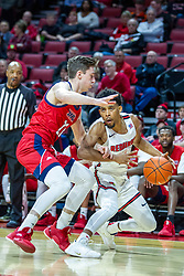 NORMAL, IL - December 18:  Zach Copeland defended by Jamie Ahale during a college basketball game between the ISU Redbirds and the UIC Flames on December 18 2019 at Redbird Arena in Normal, IL. (Photo by Alan Look)