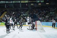 KELOWNA, CANADA -FEBRUARY 5: The Kelowna Rockets celebrate a goal against the Red Deer Rebels on February 5, 2014 at Prospera Place in Kelowna, British Columbia, Canada.   (Photo by Marissa Baecker/Getty Images)  *** Local Caption ***