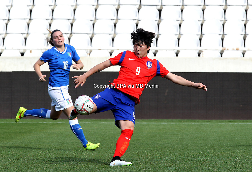 Fifa Womans World Cup Canada 2015 - Preview //<br /> Cyprus Cup 2015 Tournament ( Gsp Stadium Nicosia - Cyprus ) - <br /> South Korea vs Italy 1-2 , Park Eunseon of South Korea