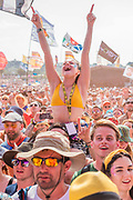Fans watch as Lewis Capaldi plays the Other Stage - The 2019 Glastonbury Festival, Worthy Farm, Glastonbury.
