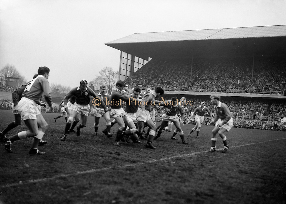 An Irish forward push during the early stages of play,..Irish Rugby Football Union, Ireland v Wales, Five Nations, Landsdowne Road, Dublin, Ireland, Saturday 12th March, 1960,.12.3.1960, 3.12.1960,..Referee- D A Brown, Rugby Football Union, ..Score- Ireland 9 - 10 Wales, ..Irish Team, ..T J Kiernan,  Wearing number 15 Irish jersey, Full Back, University college Cork Football Club, Cork, Ireland,  ..W W Bornemann, Wearing number 14 Irish jersey, Right Wing, Wanderers Rugby Football Club, Dublin, Ireland, ..D Hewitt, Wearing number 13 Irish jersey, Right centre, Queens University Rugby Football Club, Belfast, Northern Ireland,..A C Pedlow, Wearing number 12 Irish jersey, Left Centre,  C I Y M S Rugby Football Club, Belfast, Northern Ireland, ..D C Glass, Wearing number 11 Irish jersey, Left Wing, Collegians Rugby Football Club, Belfast, Northern Ireland,..S Kelly, Wearing number 10 Irish jersey, Outside Half, Landsdowne Rugby Football Club, Dublin, Ireland, ..A A Mulligan, Wearing number 9 Irish jersey, Captain of the Irish team, Scrum Half, London Irish Rugby Football Club, Surrey, England, ..S Millar, Wearing number 1 Irish jersey, Forward, Ballymena Rugby Football Club, Antrim, Northern Ireland,..B McCallan, Wearing number 2 Irish jersey, Forward, Ballymena Rugby Football Club, Antrim, Northern Ireland,..B G Wood, Wearing number 3 Irish jersey, Forward, Landsdowne Rugby Football Club, Dublin, Ireland,..W A Mulcahy, Wearing number 4 Irish jersey, Forward, University College Dublin Rugby Football Club, Dublin, Ireland, ..M G Culliton, Wearing number 5 Irish jersey, Forward, Wanderers Rugby Football Club, Dublin, Ireland, ..N Murphy, Wearing number 6 Irish jersey, Forward, Cork Constitution Rugby Football Club, Cork, Ireland,..T McGrath, Wearing number 7 Irish jersey, Forward, Garryowen Rugby Football Club, Limerick, Ireland, ..J R Kavanagh, Wearing number 8 Irish jersey, Forward, Wanderers Rugby Football Club, Dublin, Ireland, ..Welsh Team, ..N Morgan, Wearing number