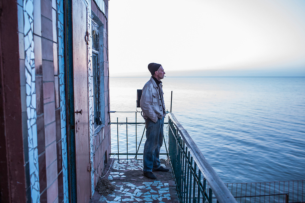 A fisherman on Saturday, April 11, 2015 in Siedove, Ukraine.