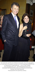 The HON.WILLIAM & HON.MRS SHAWCROSS, she is the daughter of Lord Forte, at a party in London on 19th November 2002.	PFK 39