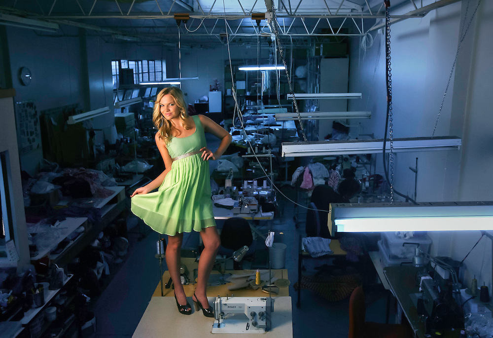 Model Ally Parry in an Amar dress in the factory where the dress was made  .Pic By Craig Sillitoe SPECIALX 000 This photograph can be used for non commercial uses with attribution. Credit: Craig Sillitoe Photography / http://www.csillitoe.com<br />
