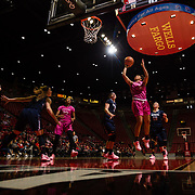 10 February 2018: The San Diego State Aztecs women's basketball team hosts Nevada on Play4Kay day at Viejas Arena. San Diego State Aztecs guard Te'a Adams (5) lays the ball up for a basket in the first half. <br /> More game action at www.sdsuaztecphotos.com
