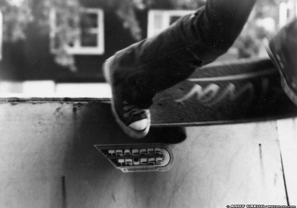 Willy Marlowe with 3 Wheels Out, Skate Ramps at 1025 N. Front Street, Marquette, MI, 1978.  One of my earliest photos.