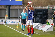 Finn Ecrepont (Ayr United) takes a throw in during the U17 European Championships match between Scotland and Russia at Simple Digital Arena, Paisley, Scotland on 23 March 2019.