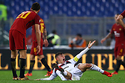 December 16, 2017 - Rome, Italy - Nicolo Barella of Cagliari reclaiming the medical assistance after the injury during the Italian Serie A football match Roma vs Cagliari, on December 16, 2017 at the Olimpico stadium in Rome. (Credit Image: © Matteo Ciambelli/NurPhoto via ZUMA Press)