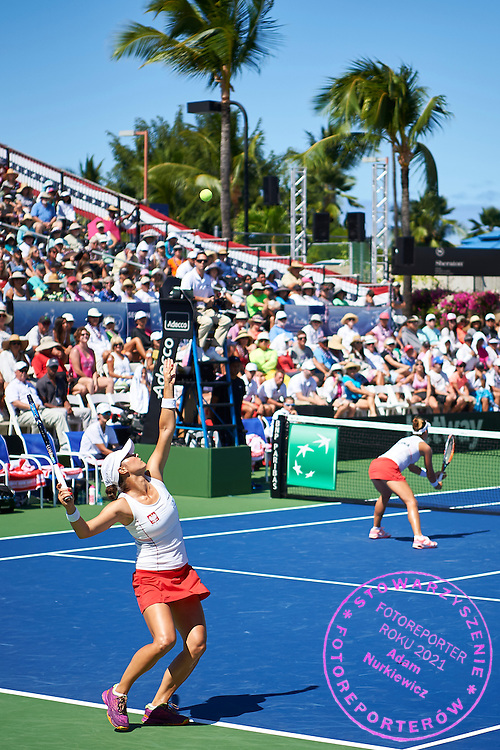 KAILUA KONA, USA - 2016 FEBRUARY 07: (L) Klaudia Jans - Ignacik and Paula Kania both from Poland compete at women's double during the Fed Cup World Group II 1st round tennis match between USA and Poland on February 07, 2016 at Holua Tennis Center in Kailua Kona, USA.<br /> <br /> Picture also available in RAW (NEF) or TIFF format on special request.<br /> <br /> Any editorial, commercial or promotional use requires written permission from the author of image.<br /> <br /> Adam Nurkiewicz declares that he has no rights to the image of people at the photographs of his authorship.<br /> <br /> Mandatory credit:<br /> Photo by &copy; Adam Nurkiewicz / Mediasport