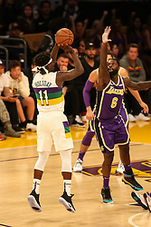 February 27, 2019 - Los Angeles, CA, U.S. - LOS ANGELES, CA - FEBRUARY 27: New Orleans Pelicans Guard Jrue Holiday (11) shoots over Los Angeles Lakers Forward Lance Stephenson (6) during second half of the New Orleans Pelicans versus Los Angeles Lakers game on February 27, 2019, at Staples Center in Los Angeles, CA. (Photo by Icon Sportswire) (Credit Image: © Icon Sportswire/Icon SMI via ZUMA Press)