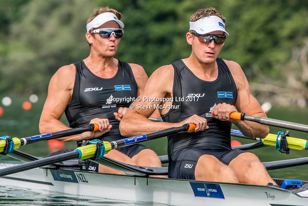 Chris Harris (Aramaho Wanganui RC) and John Storey (Avon RC) Mens Double Scull racing the qualification heat at WCIII on the Rotsee, Lucerne, Switzerland, Friday 7th July 2017 © Copyright Steve McArthur / www.photosport.nz