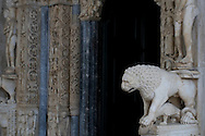Stone carving (the work of Radovan of Trogir, signed and dated 1240) at the main entrance to the cathedral in Trogir, a UNESCO World Heritage Site, Croatia