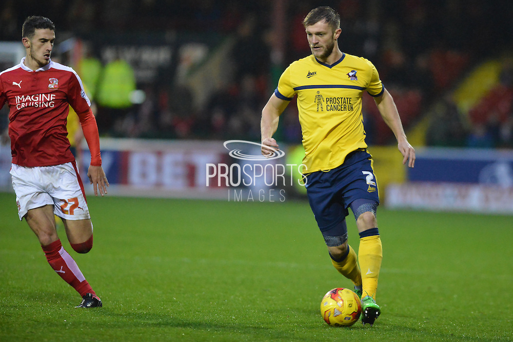 Scunthorpe United defender Scott Wiseman attacking down the wing during the Sky Bet League 1 match between Swindon Town and Scunthorpe United at the County Ground, Swindon, England on 14 November 2015. Photo by Mark Davies.