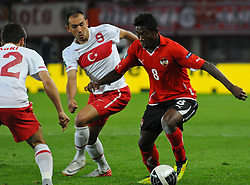 06.09.2011, Ernst Happel Stadion, Wien, AUT, UEFA EURO 2012, Qualifikation, Oesterreich (AUT) vs Tuerkei (TUR), im Bild Zweikampf zwischen Umut Bulut, (TUR, #9) und David Alaba, (AUT, #8) // during the UEFA Euro 2012 Qualifier Game, Austria vs Turkey, at Ernst Happel Stadium, Vienna, 2011-09-06, EXPA Pictures © 2011, PhotoCredit: EXPA/ M. Gruber