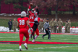 NORMAL, IL - November 17: Luther Kirk gets position on the Penguins receiver to grab an interception during a college football game between the ISU (Illinois State University) Redbirds and the Youngstown State Penguins on November 17 2018 at Hancock Stadium in Normal, IL. (Photo by Alan Look)