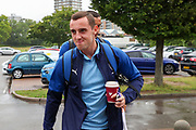 AFC Wimbledon midfielder Dylan Connolly (16) arriving during the Pre-Season Friendly match between AFC Wimbledon and Crystal Palace at the Cherry Red Records Stadium, Kingston, England on 30 July 2019.