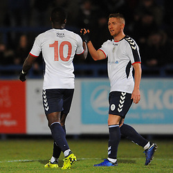 TELFORD COPYRIGHT MIKE SHERIDAN 12/2/2019 - GOAL. Dan Udoh of AFC Telford is congratulated by Darryl Knights of AFC Telford after he scores to make it 1-0 during the Vanarama Conference North fixture between AFC Telford United and Guiseley at the New Bucks Head.