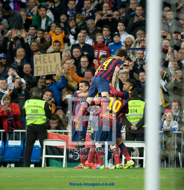 players of FC Barcelona celebrating the goal during the La Liga match at the Estadio Santiago Bernabeu, Madrid<br /> Picture by Marcos Calvo Mesa/Focus Images Ltd +34 654142934<br /> 23/03/2014