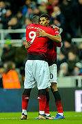 Marcus Rashford (#10) of Manchester United celebrates Manchester United's second goal (0-2) with Romelu Lukaku (#9) of Manchester United during the Premier League match between Newcastle United and Manchester United at St. James's Park, Newcastle, England on 2 January 2019.