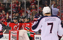 Feb 27, 2014; Newark, NJ, USA; The New Jersey Devils celebrate a goal by New Jersey Devils right wing Jaromir Jagr (68) during the first period of their game against the Columbus Blue Jackets at Prudential Center.