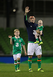 Robbie Keane with his 2 sons wave goodbye to the crowd at the end of the game - Mandatory by-line: Ken Sutton/JMP - 31/08/2016 - FOOTBALL - Aviva Stadium - Dublin,  - Republic of Ireland v Oman -