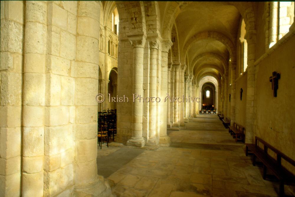 France, Normandy.  Lessay.  Abbatiale interior.