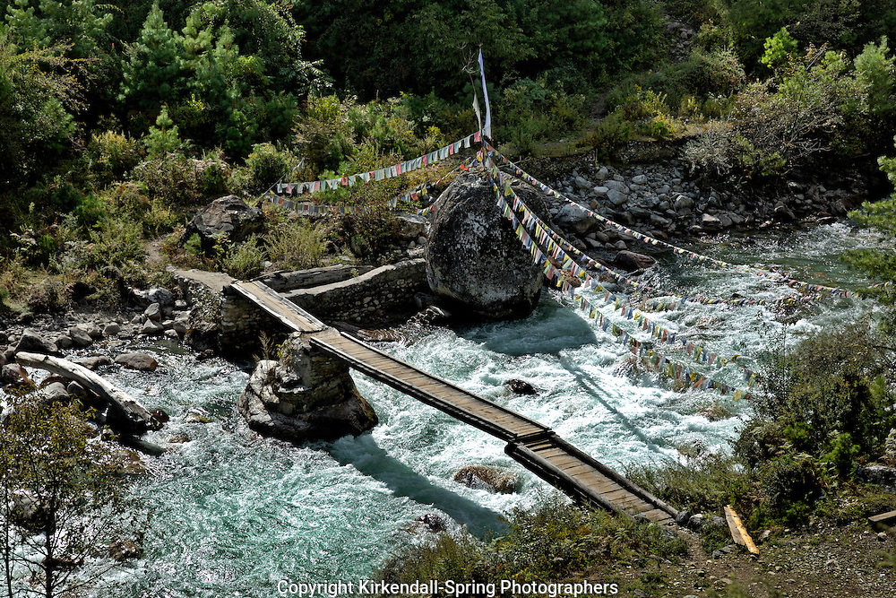 BU00148-00...BHUTAN - Typical bridge style in the the Para Chhu (river) valley, part of the Jhomolhari 2 Trek route.